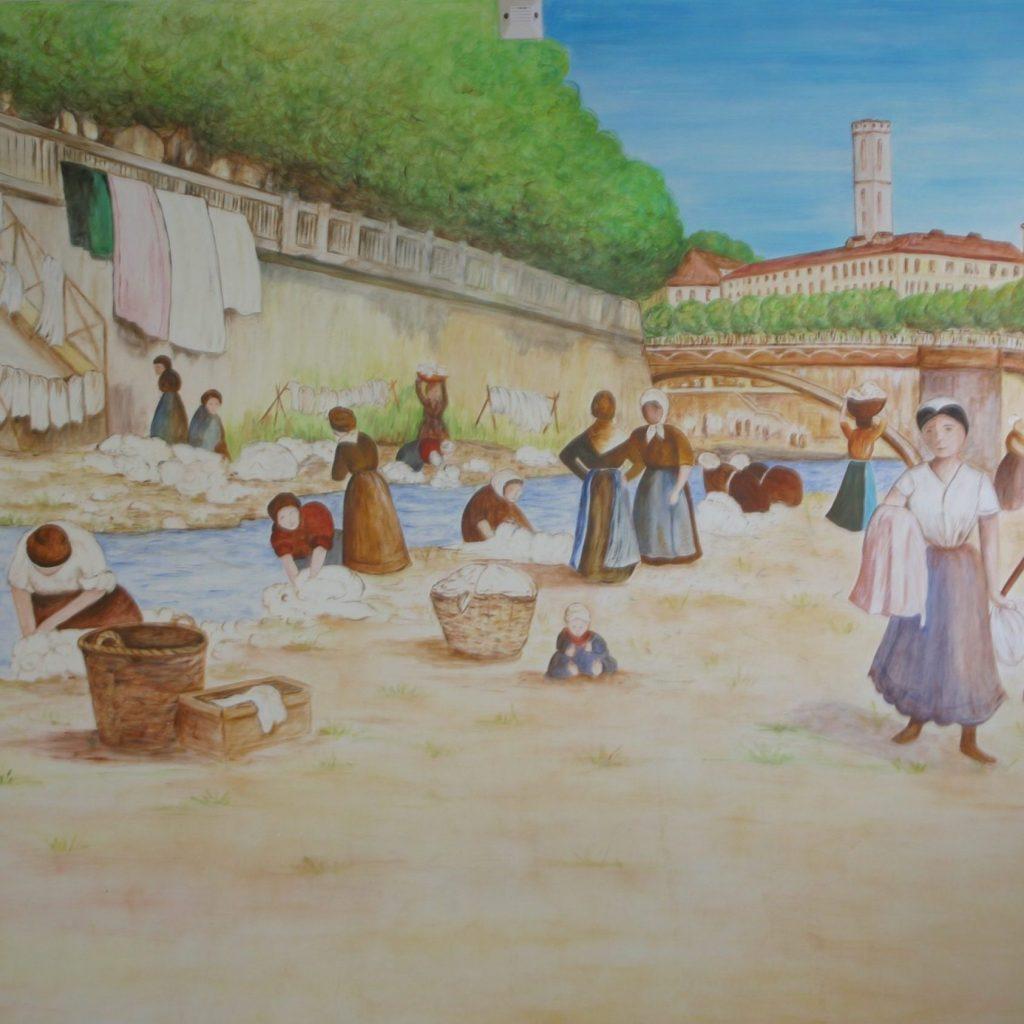 Peinture murale de bugadières dans le paillon